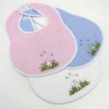Handmade Embroidered Bib - Rabbit - Medium