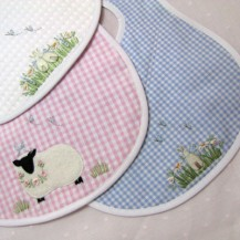 Handmade Embroidered Bib - Rabbit - Large