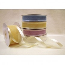 Satin Edged Organza Ribbon - White 22mm