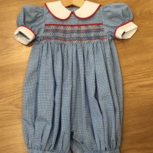 Blue Check Smocked Romper