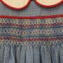 Blue Check Smocked Romper Detail