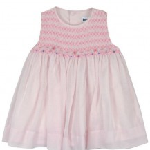 Pink sleeveless smocked dress