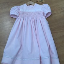 Pink stripped smocked dress