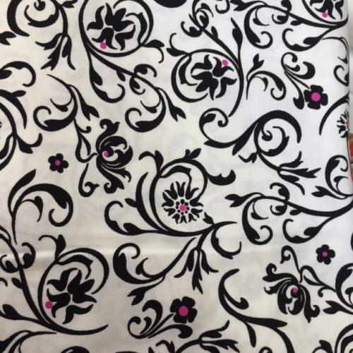 black, white pink floral