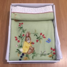 embroidered rabbit blanket green