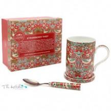 william morris mug coaster and spoon strawberry