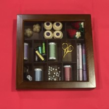 glass top wooden sewing box