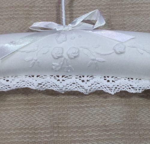 lace white coat hanger details